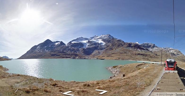 Google Street View предлагает прокатиться на поезде по Альпам