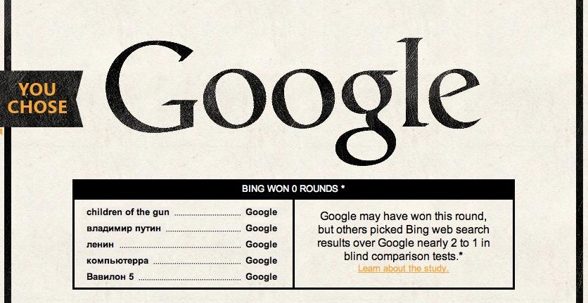 Microsoft предлагает сравнить поиск Google и Bing всем желающим