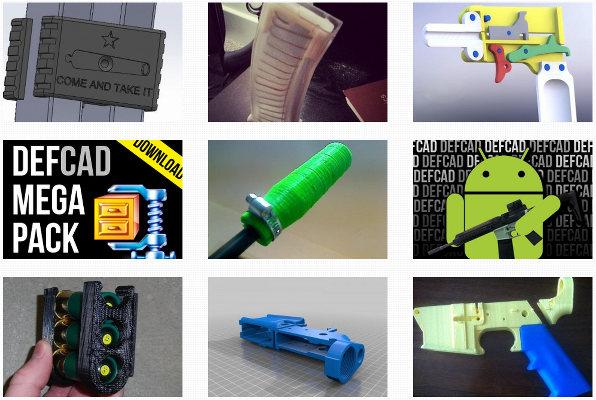 Производители 3D-принтеров против того, чтобы их оборудование использовали для прототипизации или изготовления оружия (не потому, что незаконно, а потому, что это может оказаться незаконным, да и общество на такие эксперименты смотрит косо). Но помешать энтузиастам они уже не могут. Да, Stratasys как-то раз отобрала у Коди Уилсона сданный ему в аренду принтер. Да, другие производители удаляют CAD-модели оружия из своих онлайновых библиотек. Но работа всё равно кипит! На этой фотографии представлены несколько интересных конструкций, исходники которых доступны на сайте defcad.org, принадлежащем организации Defense Distributed (о ней и её основателе Коди Уилсоне см. ниже).
