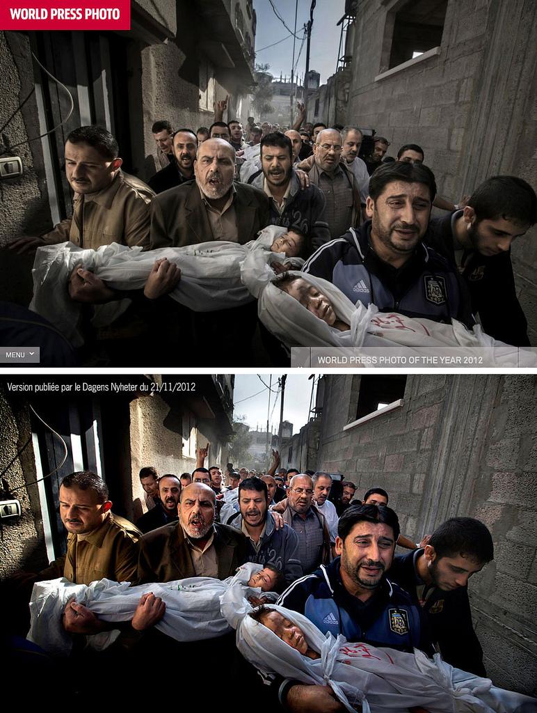 Конкурсная (вверху) и более ранняя, ноябрьская, пресс-версия снимка Пола Хансена.
