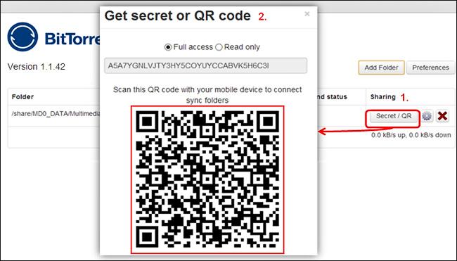 """Копирование """"секрета"""" в BT Sync с помощью QR кода (изображение: qnap.com)"""