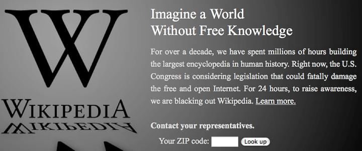 "Wikipedia против SOPA: ""Представьте мир без свободных знаний""."