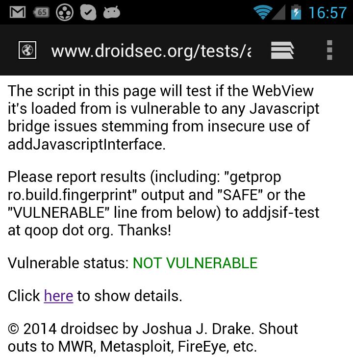 Проверка наличия уязвимости во встроенном браузере ОС Android на сайте droidsec.org (скриншот)