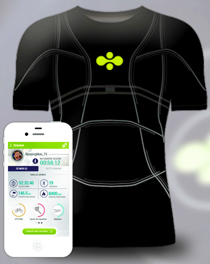 Футболка со вшитыми датчиками и мобильное приложение компании Cityzen Sciences (фото: futura-sciences.com)