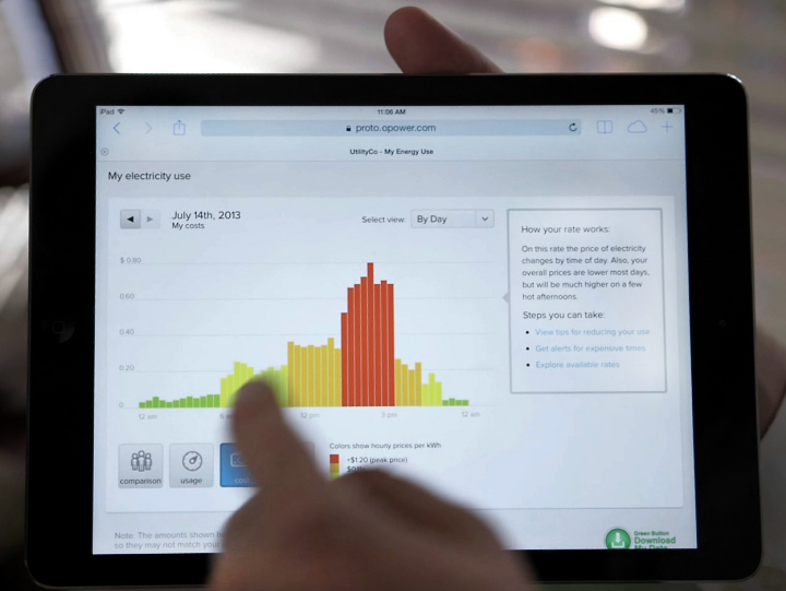 Статистика расходов электроэнергии за месяц (фото: opower.com).