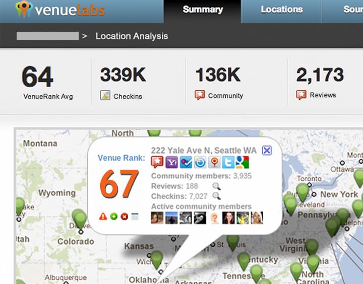 VenueLabs - отображение на карте отзывов в соцсетях о магазине спортивной одежды REI (изображение: techcrunch.com).