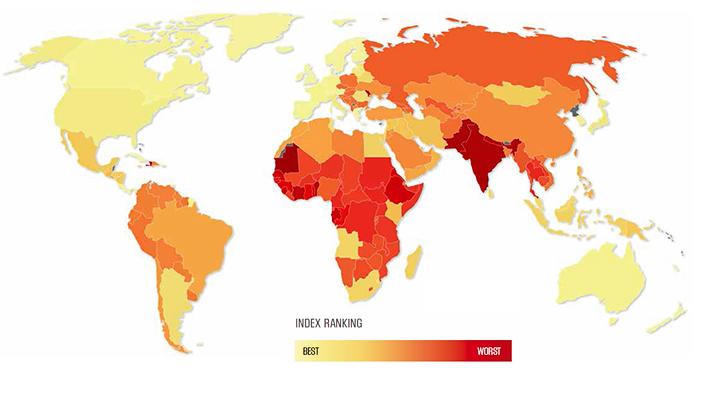 Распространение современных форм рабства в мире (изображение: Global slavery index 2013).