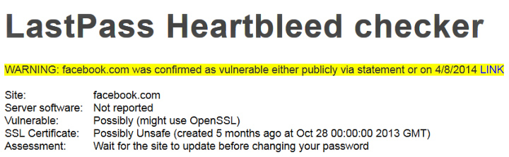 Проверка наличия уязвимости Heartlbeed на сайте Facebook (скриншот сайта lastpass.com).