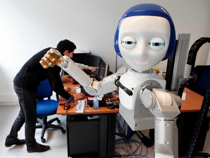 Совместная разработка Flowers Laboratory и Meka Robotics - роботы с человеческим лицом, готовые протянуть руку помощи (фото: flowers.inria.fr).