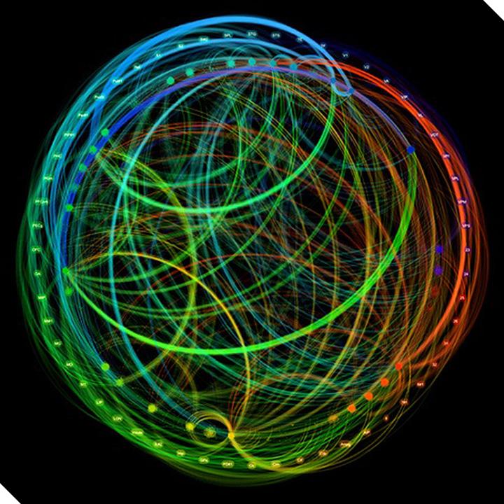 Нейронные пути мозга макаки, симулированные с помощью архитектуры TrueNorth, являющейся частью программы SyNAPSE. (Иллюстрация DARPA.)