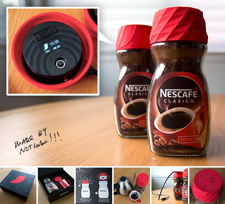 Банка-будильник от Nescafe, напечатанная на 3D-принтере