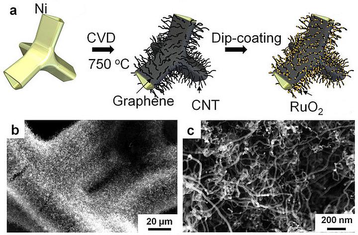 Вверху: схема нанесения графена, УНТ и частиц оксида рутения на затравку из никеля. Внизу: электронная микроскопия начального состояния и конечная наноструктура (изображение: nature.com).