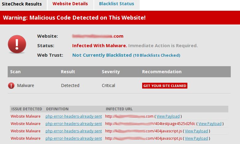 Результаты проверки заражённого сайта бесплатным сканером Sucuri (изображение: sucuri.net).