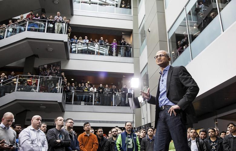 Исполнительный директор Microsoft Сатья Наделла сообщает о начале массовых сокращений (фото: hardware-360.com)