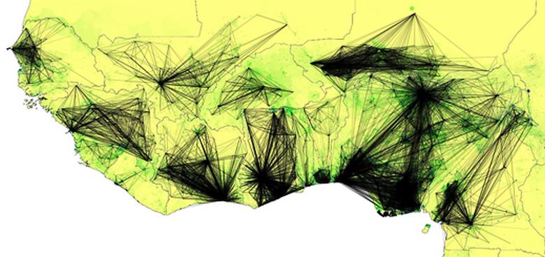 Карта перемещений абонентов Orange Telecom за год помогает прогнозировать новые очаги лихорадки Эбола (изображение: technologyreview.com).