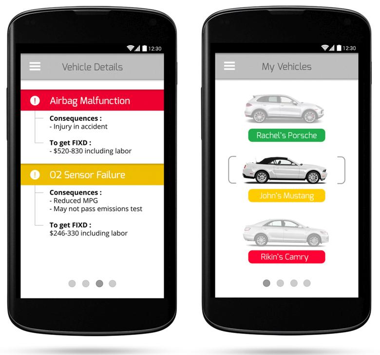FIXD - контроль состояния нескольких автомобилей с одного смартфона (изображение: fixdapp.com).
