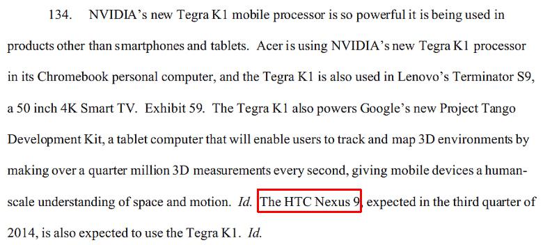 Фрагмент иска Nvidia с упоминанием HTC Nexus 9 (изображение: Rachel King / scribd.com).