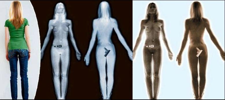 Слева направо: фотография девушки, её изображение в терагерцовом спектре и оно же после инвертирования цветов с минимальной обработкой (изображение: freedom-school.com).