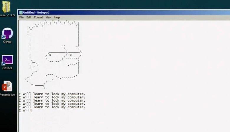 Автоматическое создание текстового документа с ASCII-графикой с помощью BadUSB (изображение: DerbyCon 4.0).