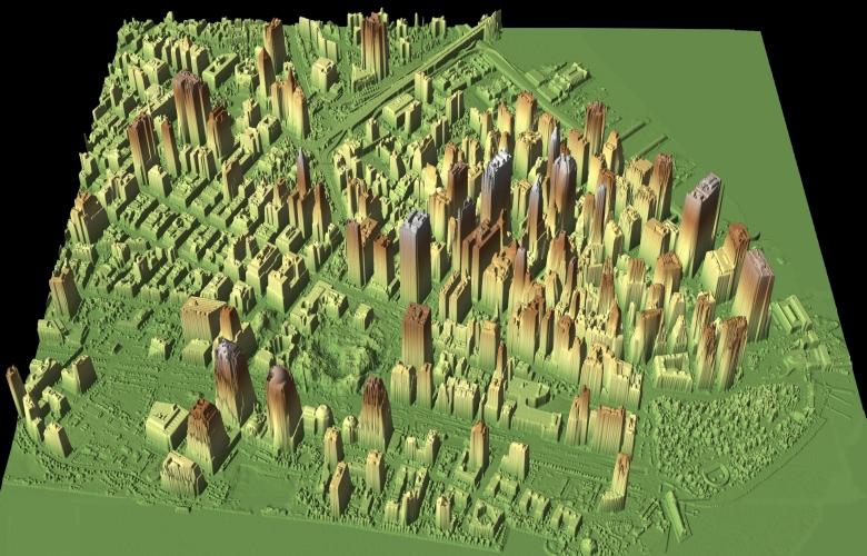 3D-модель Манхэттена. Создана по данным лидара, установленного на вертолёте (изображение: neonnotes.org).