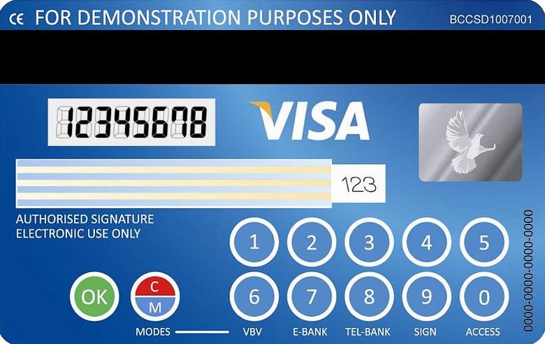 Образец карты VISA с дисплеем и клавиатурой на обратной стороне (фото: edumoodle.at).