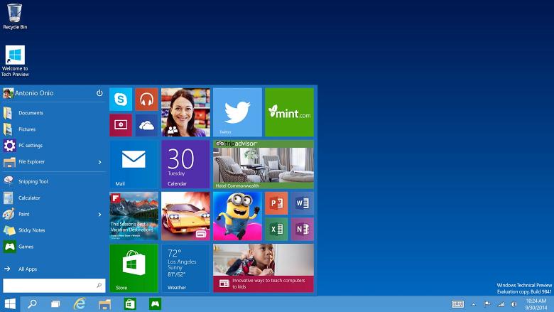 Интерфейс Windows 10 сочетает элементы седьмой и восьмой версии (скриншот: Antonio Onio).