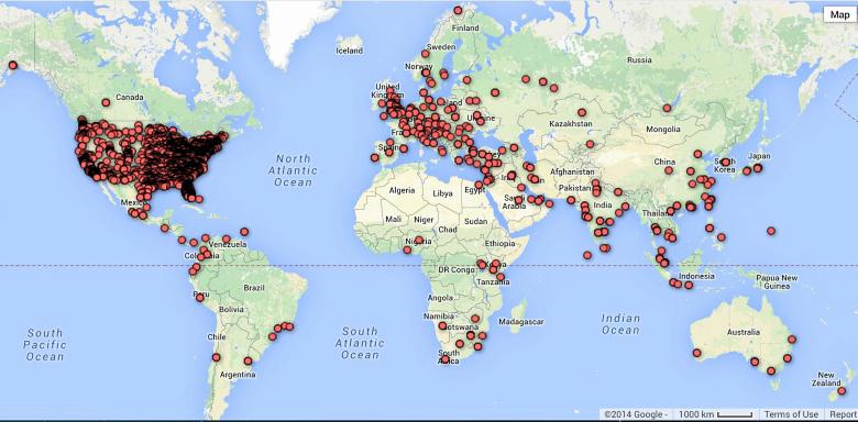 География распространения жертв трояна newGOZ: за три недели мониторинга по методу sinkhole в составе ботнета выявлены 12353 заражённых компьютеров со всего мира (изображение: arbornetworks.com).