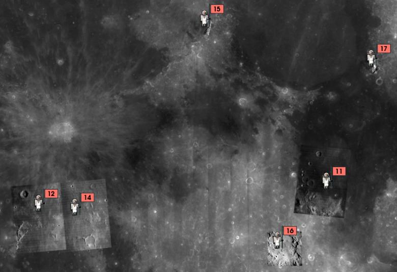 """Регионы посадки КК серии """"Аполлон"""" (изображение:  NASA / USGS / LPI / ASU)."""
