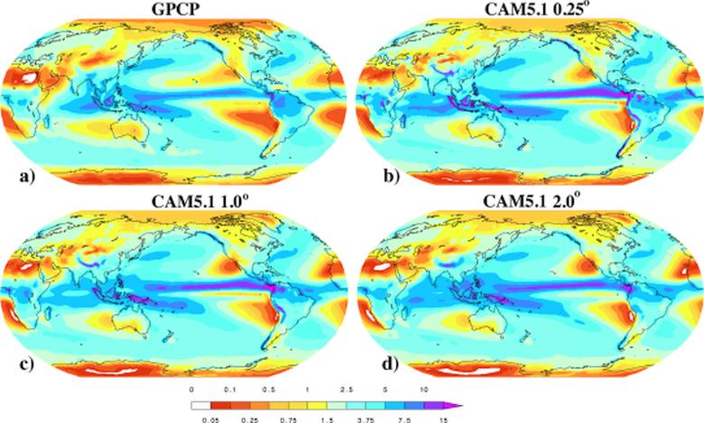Наблюдаемые среднегодовые значения осадков (слева вверху) и их предсказание по трём климатическим моделям (изображение: Michael F. Wehner et al.).