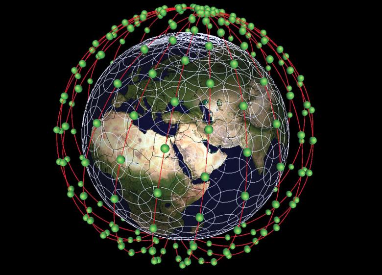 Примерная схема размещения частной сети телекоммуникационных спутников (изображение: spaceref.com).