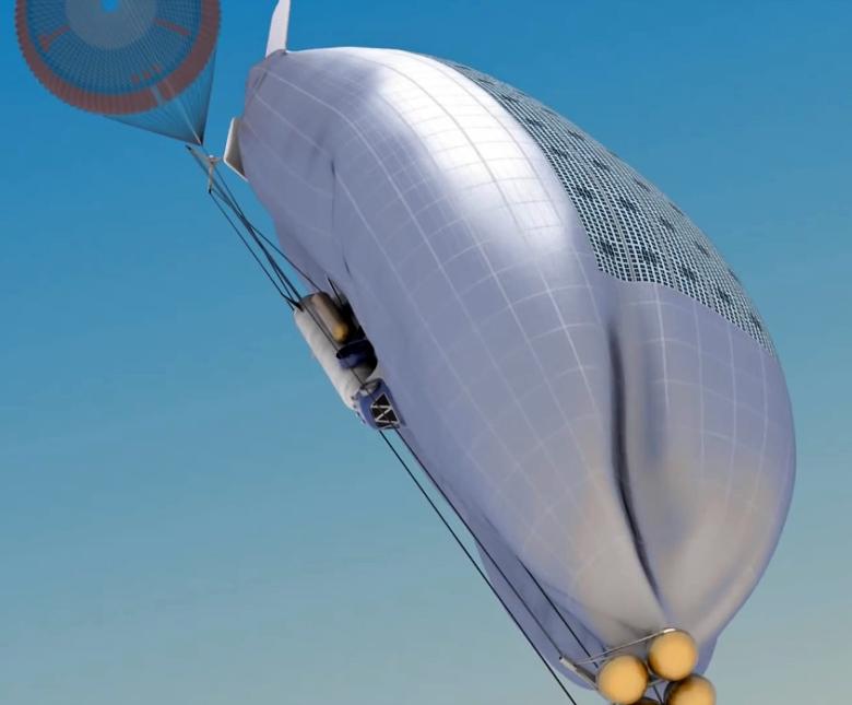 Торможение в атмосфере Венеры и наполнение оболочки летательного аппарата (изображение: NASA).