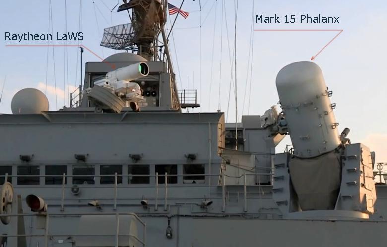 LaWS и Phalanx (изображение: navsea.navy.mil).