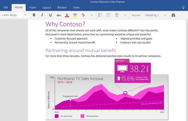 Десктопная версия текстового редактора Word для Windows 10 (здесь и далее используются изображения blogs.office.com).