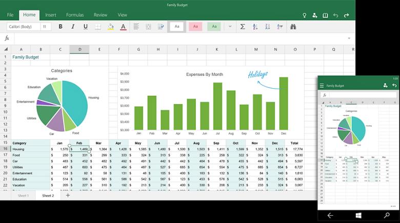 Десктопная и мобильная версия Excel для Windows 10.