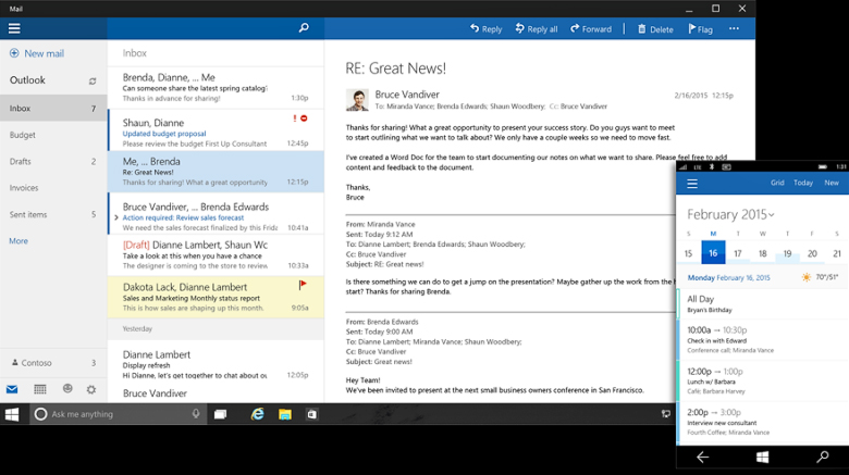 Outlook (почта и календарь) для Windows 10.