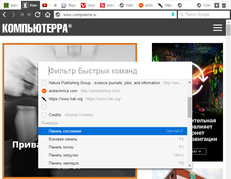 "Меню ""Быстрые команды"" в браузере Vivaldi."