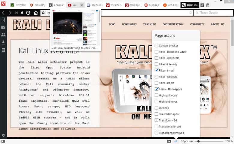 Режимы постобработки веб-страниц в браузере Vivaldi.