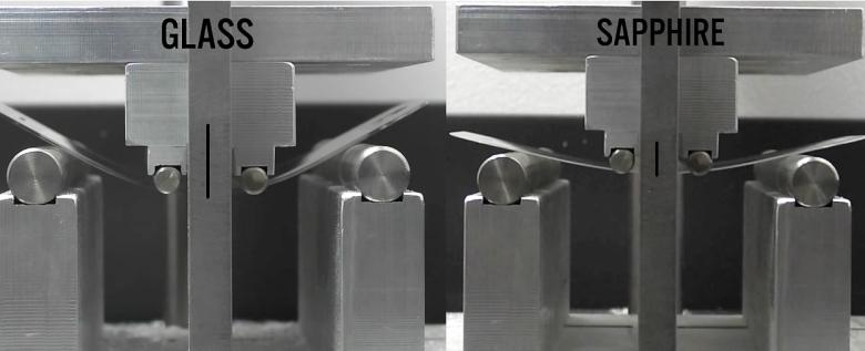 """Сравнение прочности на изгиб Gorilla Glass и """"сапфирового"""" защитного экрана одинаковой толщины. На снимке показаны максимально допустимые углы при превышении которых происходит разрушение материала (фото: ubreakifix.com)."""