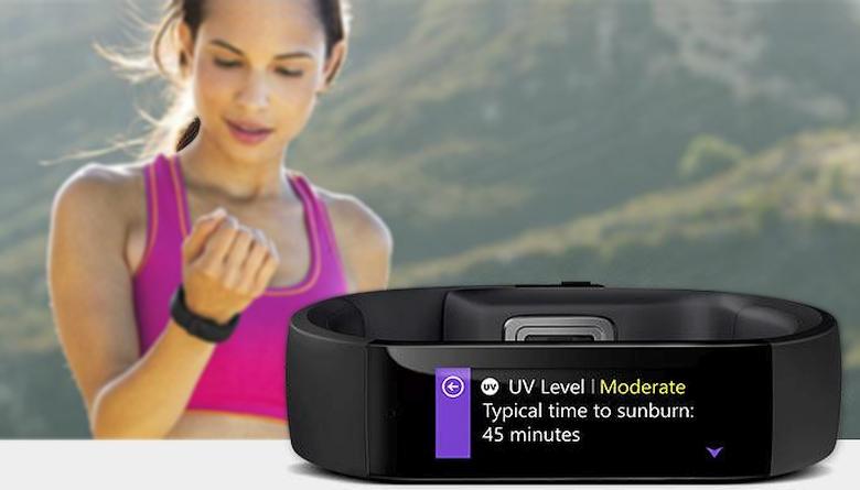 Microsoft Band: оценка УФ-индекса (фото: microsoftstore.com).