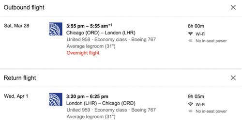 При поиске авиарейсов через Google будет отображаться информация о наличии Wi-Fi на борту или встроенных в кресла розетках для подзарядки.