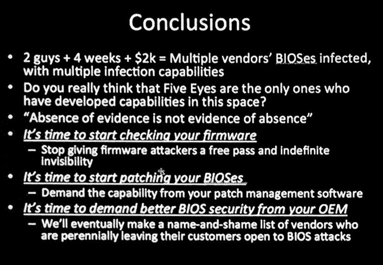 За четыре недели два парня нашли множество малых уязвимостей в прошивках BIOS разных производителей и одну фундаментальную дыру в реализации SMM (слайд презентации).
