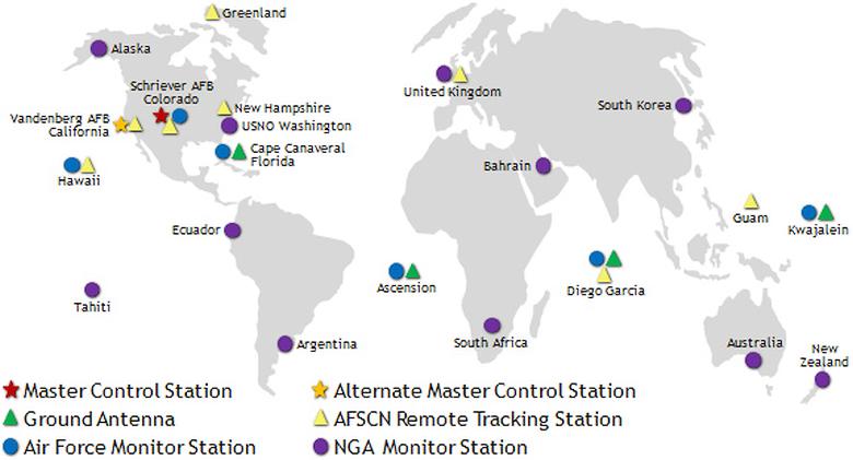 Размещение станций GPS в мире (изображение: security-bridge.com).