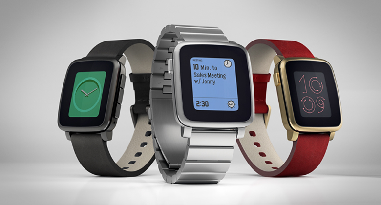 Pebble Time Steel в трёх вариантах (фото: getpebble.com).