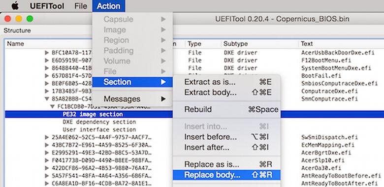 Использование утилиты Николая Шлея UEFITool для инфицирования ноутбука MSI (слайд из презентации).