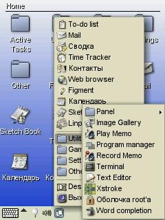 Familiar Linux на экране Compaq Ipaq, 2004 год.