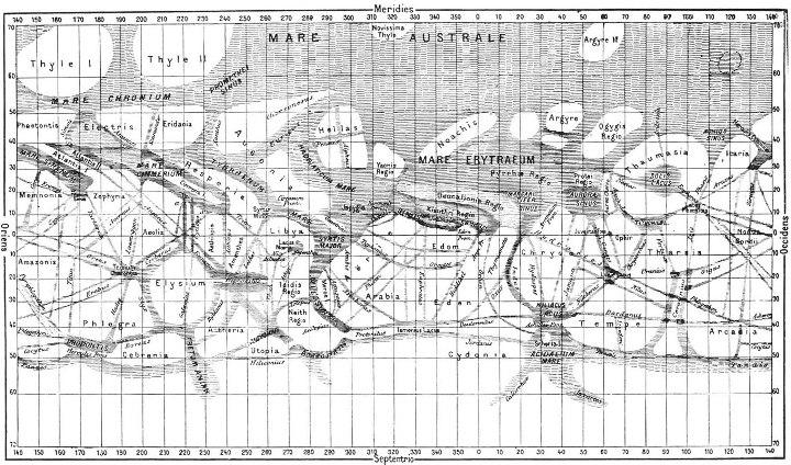 """Так каналы Марса – вполне научно, по наблюдениям Скиапарелли – изображались в книге Фламмариона  """"La Planéte Mars""""(1892) и в русской астрономической литературе…"""