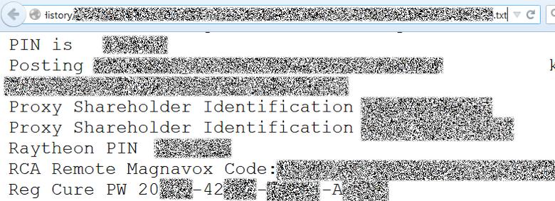Регистрационные данные и пин-коды охранных систем хранились в едином текстовом файле.
