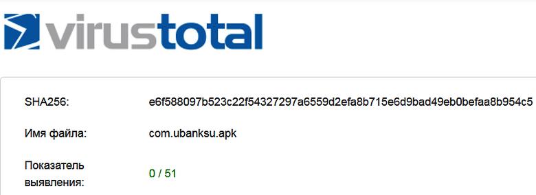 Ни один из 51 антивируса не обнаружил вредоносного кода в приложении uBank.