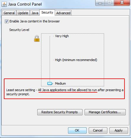 Средний уровень безопасности в Java 1.7.45.