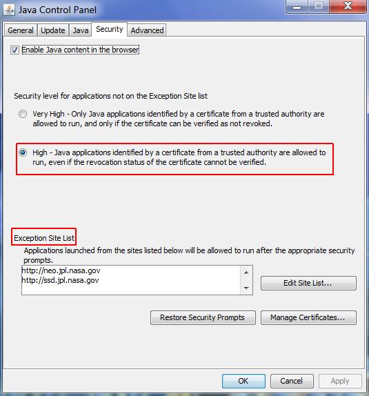 Изменение настроек безопасности и список исключений в Java 1.8.45.
